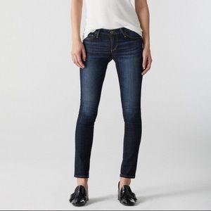 AG Stilt Cigarette Leg Low Rise Dark Wash Jeans